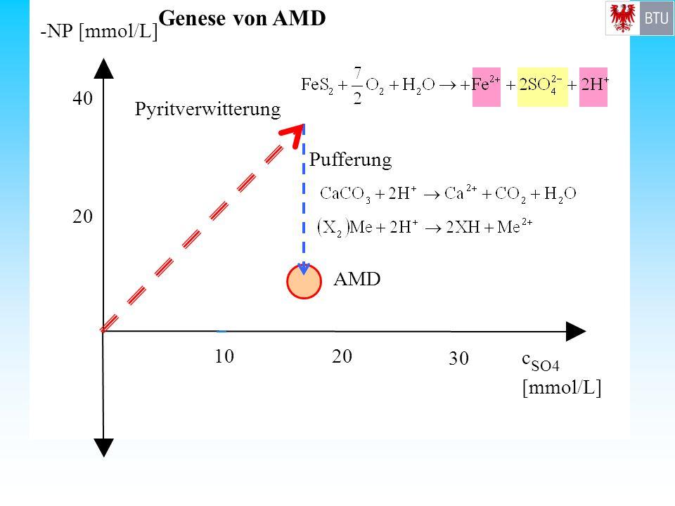 Genese von AMD - NP [mmol/L] c [mmol/L] 10 20 30 40 Pyritverwitterung